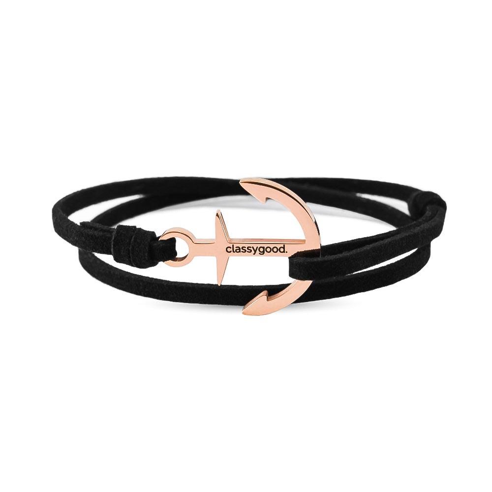 Anker Armband rosegold schwarz