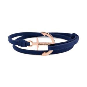 anker armband rosegold blau