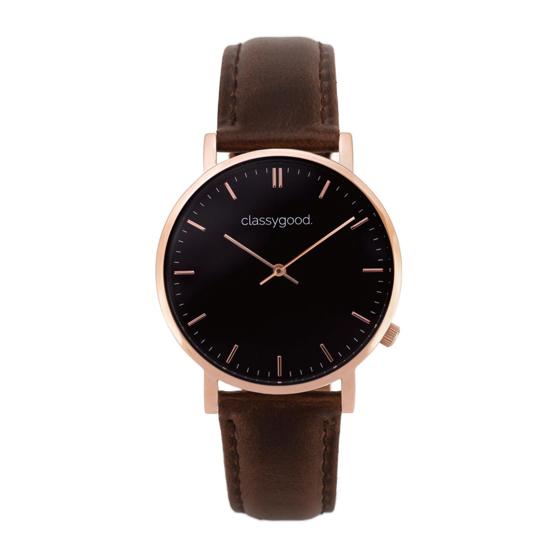 classygood Uhr rosegold schwarz braun
