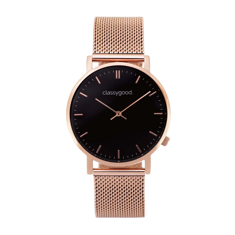 classygood Uhr rosegold schwarz mesh