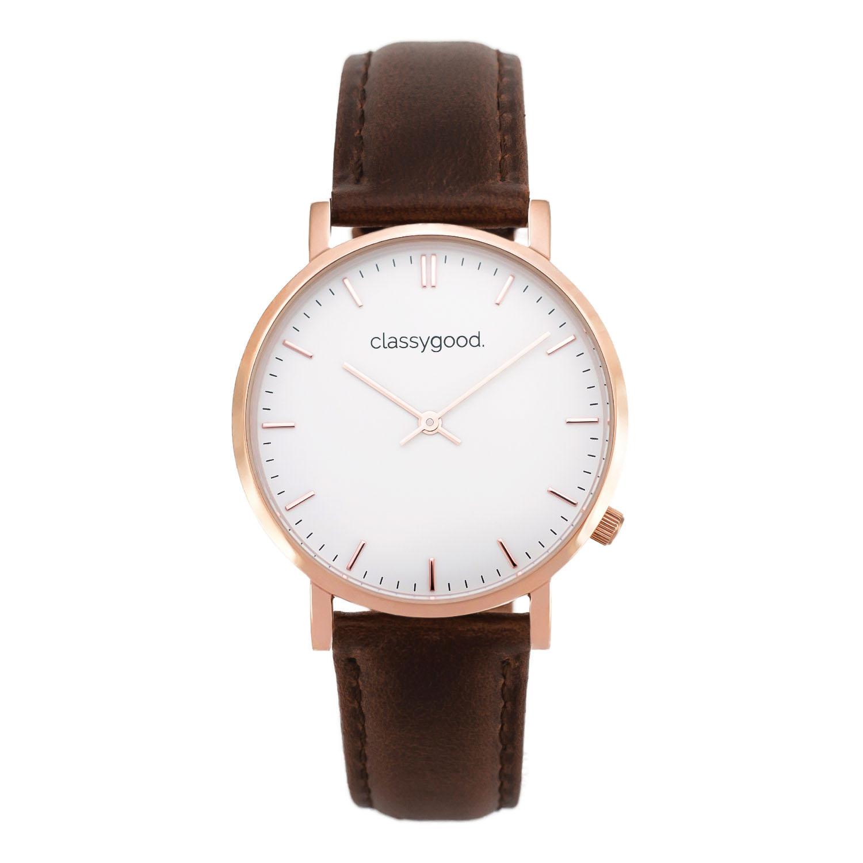 classygood Uhr rosegold weiß braun