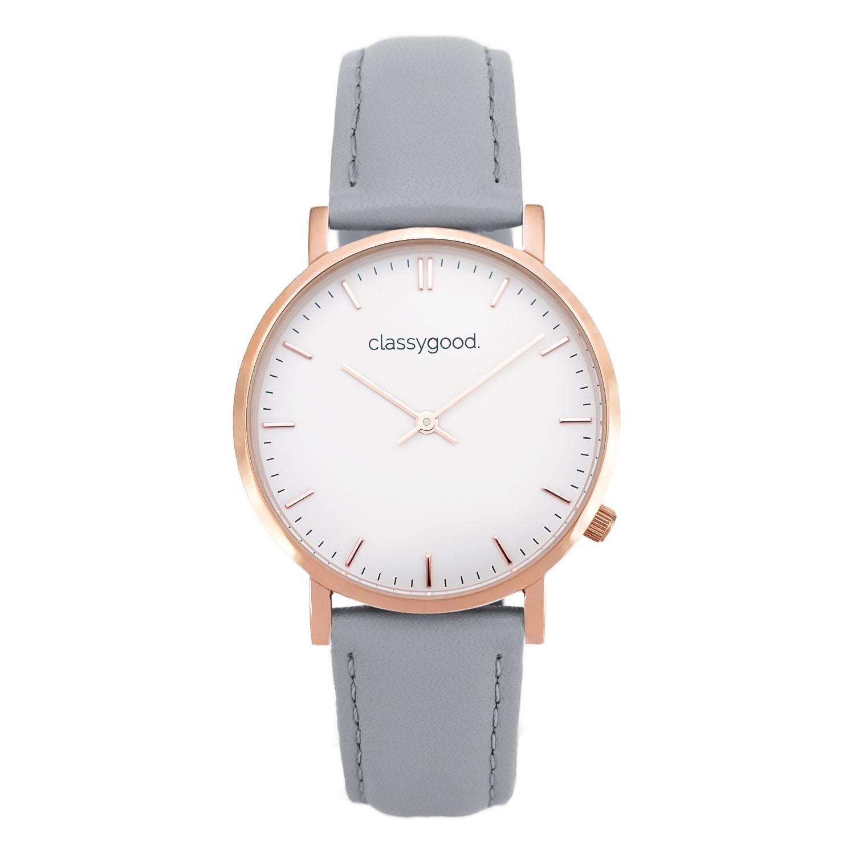 classygood Uhr rosegold weiß grau
