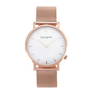 classygood Uhr rosegold weiß mesh
