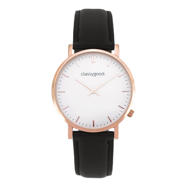 classygood Uhr rosegold weiß schwarz