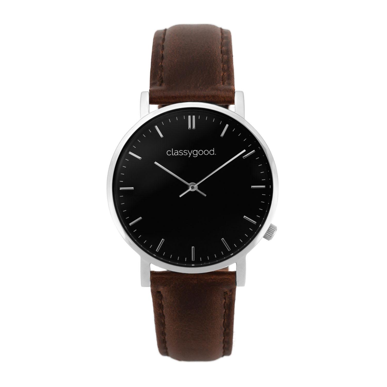 classygood Uhr silber schwarz braun