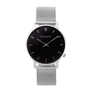 classygood Uhr silber schwarz mesh