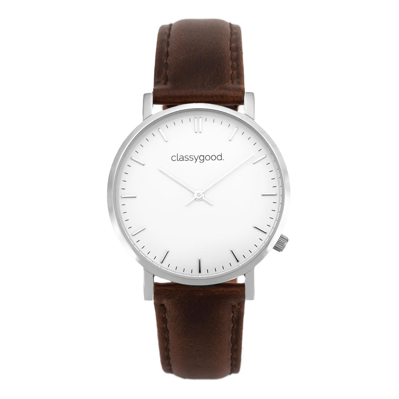 classygood Uhr silber weiß braun