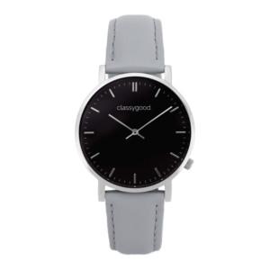 classygood Uhr silber schwarz grau